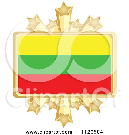 Clipart Of A Lithuanian Flag With A Golden Stars Frame - Royalty Free Vector Illustration by Andrei Marincas