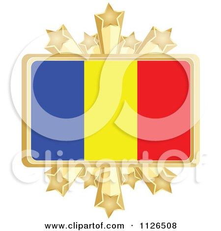 Clipart Of A Romanian Flag With A Golden Stars Frame - Royalty Free Vector Illustration by Andrei Marincas