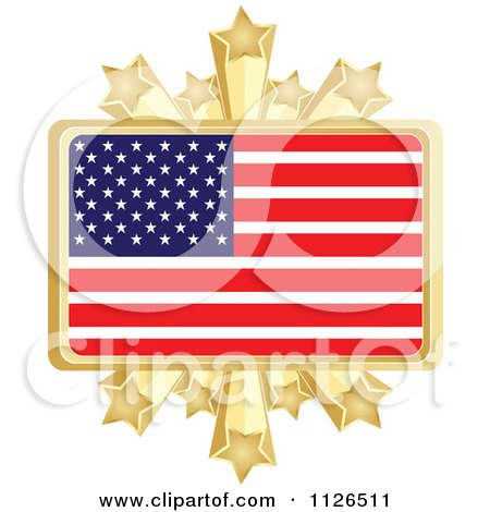 Clipart Of An American Flag With A Golden Stars Frame - Royalty Free Vector Illustration by Andrei Marincas