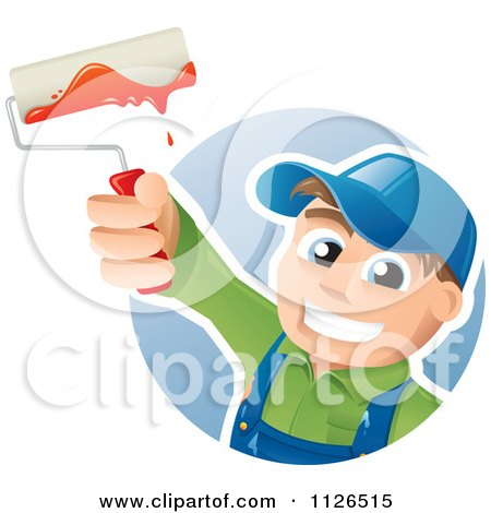 Cartoon Of A Happy House Painter Worker Holding Up A Brush - Royalty Free Vector Clipart by TA Images