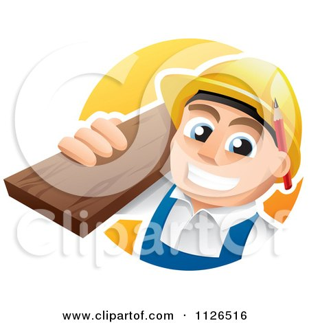 Cartoon Of A Happy Carpenter Carrying Lumber - Royalty Free Vector Clipart by TA Images
