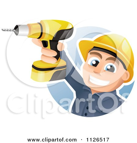 Cartoon Of A Happy Construction Worker Holding Up A Power Drill - Royalty Free Vector Clipart by TA Images