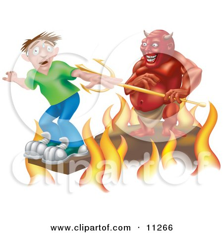 Scared Boy Standing at the Edge of a Plank Above the Fires of Hell, a Devil Holding a Pitchfork Behind Him Clipart Illustration by AtStockIllustration
