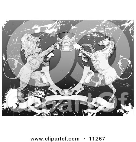 Crown, Lion, and Unicorn on a Coat of Arms in Grunge Clipart Illustration by AtStockIllustration