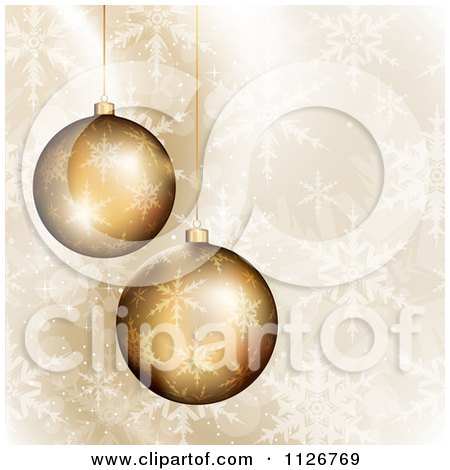 Clipart Of 3d Golden Christmas Ornaments Over Snowflakes - Royalty Free Vector Illustration by TA Images