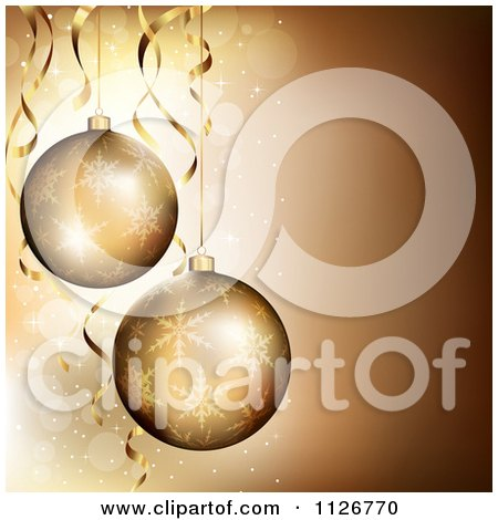 Clipart Of 3d Golden Christmas Ornaments Over Sparkles - Royalty Free Vector Illustration by TA Images