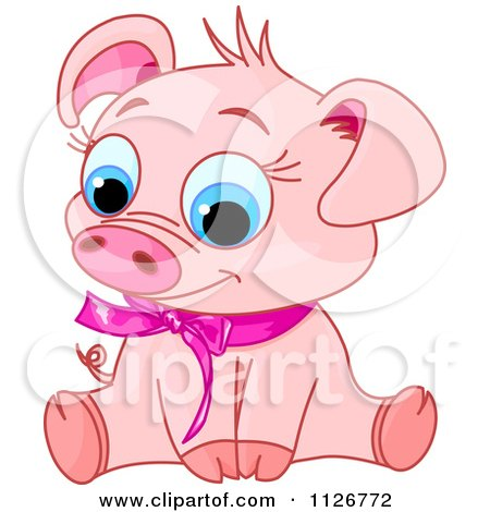 Cartoon Of A Cute Sitting Piglet Wearing A Pink Ribbon With Its Head Tilted To The Left - Royalty Free Vector Clipart by Pushkin