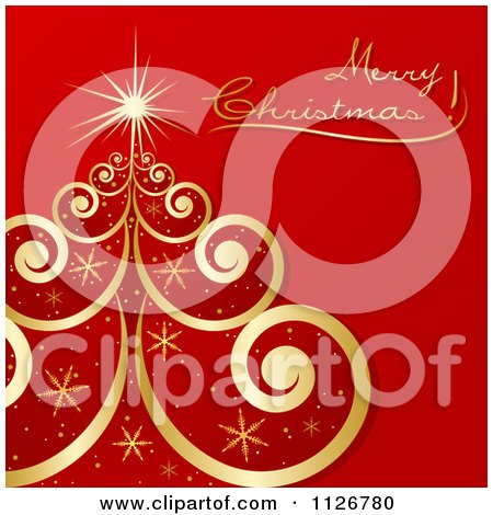 Clipart Of A Gold Swirl And Snowflake Tree And Merry Christmas Text On Red - Royalty Free Vector Illustration by dero