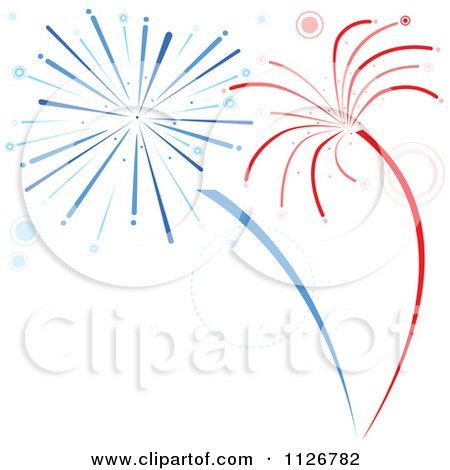 Clipart Of Red And Blue Firework Bursts Royalty Free Vector Illustration