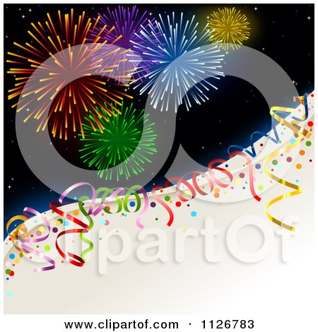Clipart Of New Year Holiday Fireworks And Party Ribbons - Royalty Free Vector Illustration by dero