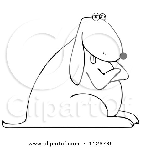 Cartoon Of An Outlined Stubborn Dog With Folded Arms - Royalty Free Vector Clipart by djart