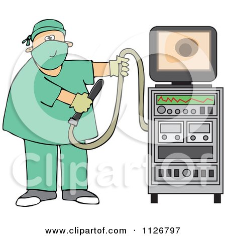 Cartoon Of A Proctologist Doctor With Colonoscopy Equipment - Royalty Free Vector Clipart by djart
