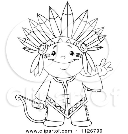 Cartoon Of A Outlined Cute Native American Indian Archer Boy Waving - Royalty Free Vector Clipart by yayayoyo