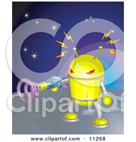 Yellow Robot Shooting A Gun While On A Planet In Space Clipart Illustration