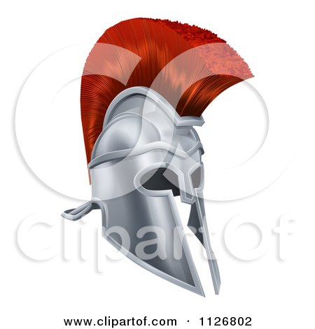 Clipart Of A 3d Chrome Trojan Spartan Helmet With A Red Mohawk - Royalty Free Vector Illustration by AtStockIllustration