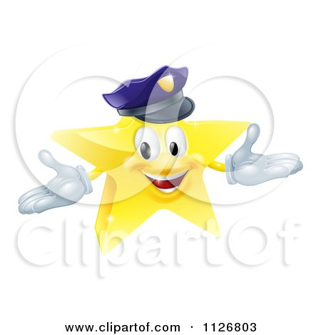 Clipart Of A 3d Police Star Mascot - Royalty Free Vector Illustration by AtStockIllustration