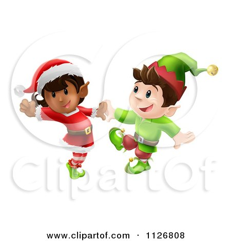 Clipart Of Happy Christmas Elves Dancing Together - Royalty Free Vector Illustration by AtStockIllustration