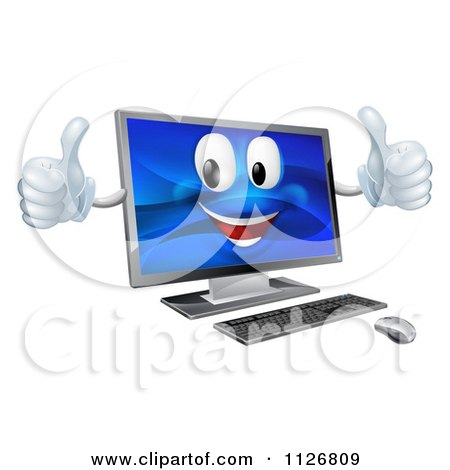 Clipart Of A Happy Desktop Computer Mascot Holding Two Thumbs Up - Royalty Free Vector Illustration by AtStockIllustration