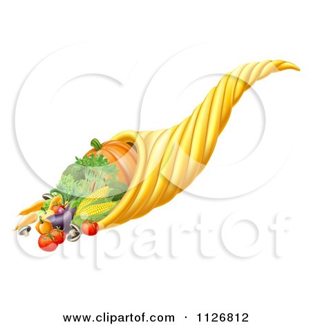 Clipart Of A Thanksgiving Or Fall Cornucopia Horn Of Plenty With Harvest Produce - Royalty Free Vector Illustration by AtStockIllustration