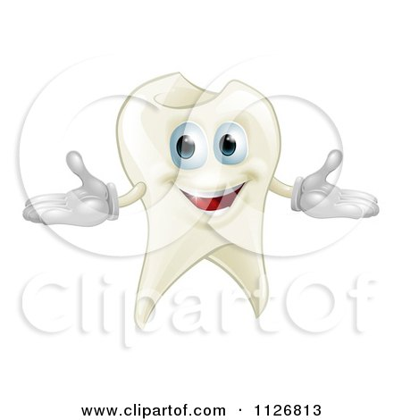 Clipart Of A Happy Tooth Mascot - Royalty Free Vector Illustration by AtStockIllustration
