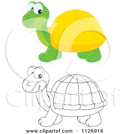 Cartoon Of Colored And Outlined Cute Tortoises - Royalty Free Vector Clipart by Alex Bannykh