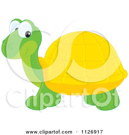 Cartoon Of A Happy Cute Tortoise - Royalty Free Vector Clipart by Alex Bannykh