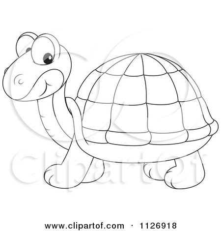 Cartoon Of An Outlined Cute Tortoise - Royalty Free Vector Clipart by Alex Bannykh