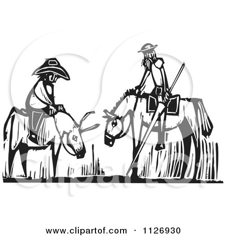 Clipart Of Men On A Horse And Donkey Black And White Woodcut - Royalty Free Vector Illustration by xunantunich