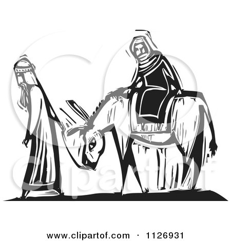 Clipart Of Joesph Leading Mary On A Donkey Black And White Woodcut - Royalty Free Vector Illustration by xunantunich