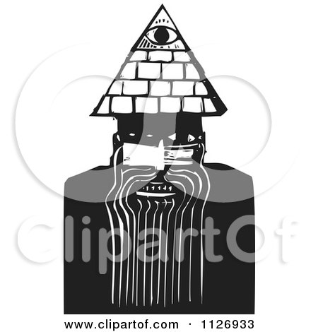 Clipart Of A May With A Spiritual Third Eye Black And White Woodcut - Royalty Free Vector Illustration by xunantunich
