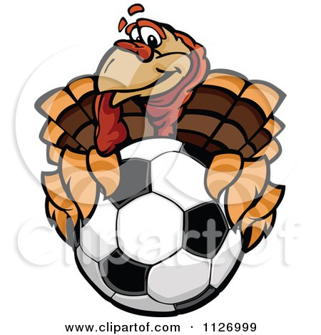 Cartoon Of A Turkey Bird Mascot Holding Out A Soccer Ball - Royalty Free Vector Clipart by Chromaco