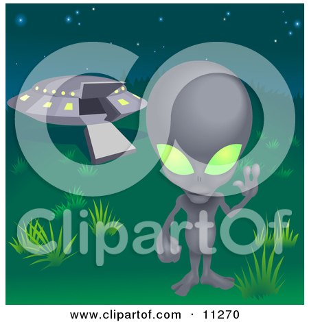 One Grey Alien With Green Eyes Waving And Standing Near A UFO Clipart Illustration
