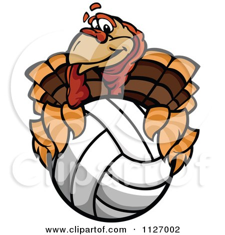 Cartoon Of A Turkey Bird Mascot Holding A Volleyball - Royalty Free Vector Clipart by Chromaco