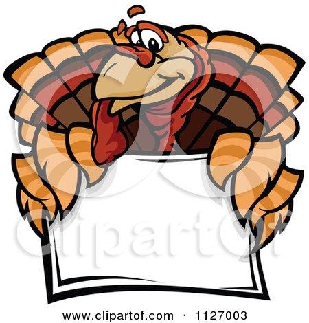 Turkey Bird Mascot Over A Sign Posters, Art Prints