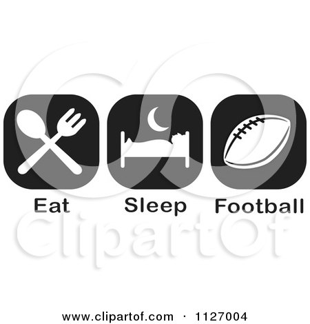 Cartoon Of A Black And White Eat Sleep Football Icons - Royalty Free Vector Clipart by Johnny Sajem