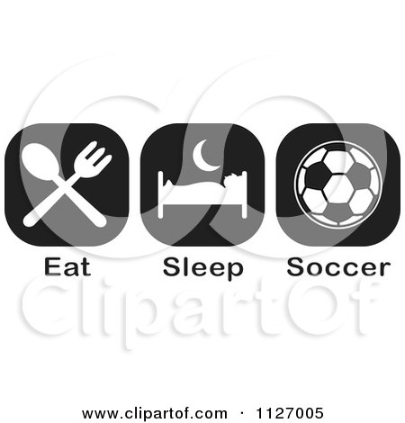 Cartoon Of A Black And White Eat Sleep Soccer Icons - Royalty Free Vector Clipart by Johnny Sajem