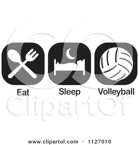 Cartoon Of A Black And White Eat Sleep Volleyball Icons - Royalty Free Vector Clipart by Johnny Sajem