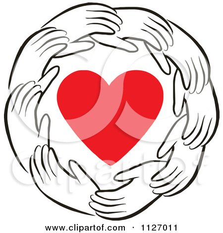 Cartoon Of A Ring Of Hands Around A Heart - Royalty Free Vector Clipart by Johnny Sajem