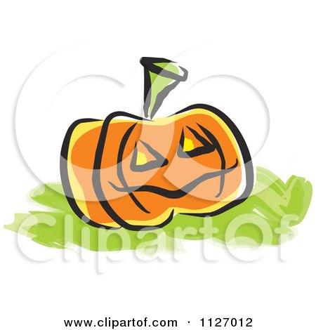 Cartoon Of A Jackolantern Halloween Pumpkin - Royalty Free Vector Clipart by Johnny Sajem