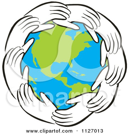 Cartoon Of A Ring Of Hands Around Earth - Royalty Free Vector Clipart by Johnny Sajem