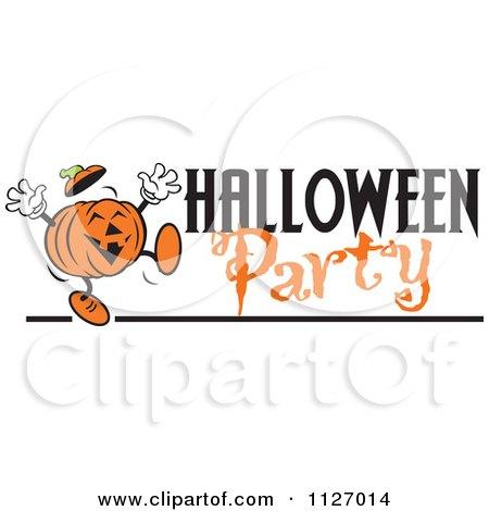 Cartoon Of A Happy Jackolantern Pumpkin With Halloween Party Text - Royalty Free Vector Clipart by Johnny Sajem