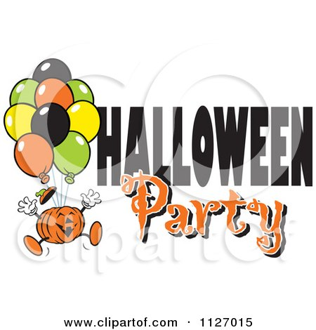 Cartoon Of A Jackolantern Pumpkin With Balloons And Halloween Party Text - Royalty Free Vector Clipart by Johnny Sajem