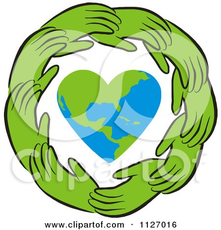 Cartoon Of A Ring Of Green Hands Around A Heart Earth - Royalty Free Vector Clipart by Johnny Sajem