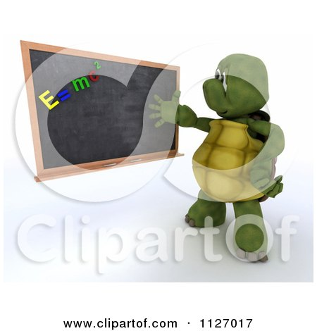 Clipart Of A 3d Tortoise Teacher Discussing Physics At A Black Board - Royalty Free CGI Illustration by KJ Pargeter