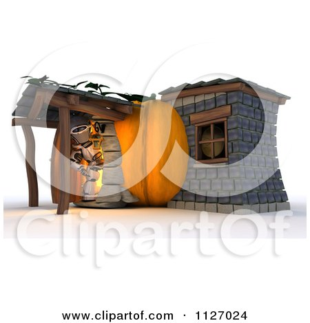 Clipart Of A 3d Robot At A Pumpkin Cottage House - Royalty Free CGI Illustration by KJ Pargeter