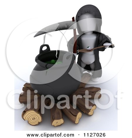 Clipart Of A 3d Grim Reaper By A Cauldron Of Eyeballs On Firewood - Royalty Free CGI Illustration by KJ Pargeter