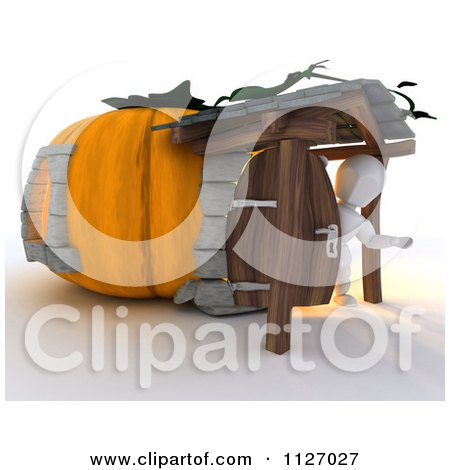 Clipart Of A 3d White Character At A Pumpkin Cottage House - Royalty Free CGI Illustration by KJ Pargeter