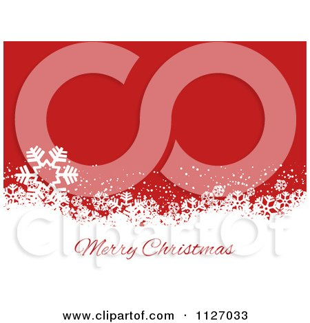 Clipart Of A Merry Christmas Greeting Over Snowflake Grunge On Red - Royalty Free Vector Illustration by KJ Pargeter