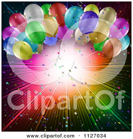 Clipart Of A Party Background Of Colorful Balloons And A Burst With Confetti - Royalty Free Vector Illustration by KJ Pargeter