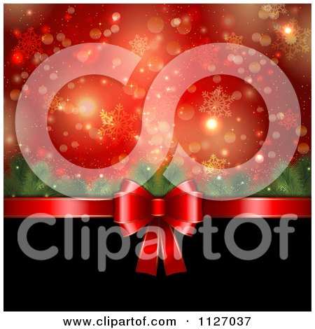 Clipart Of A Bokeh Tree Branch And Snowflake Christmas Background With A Red Bow And Black Copyspace - Royalty Free Vector Illustration by KJ Pargeter